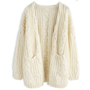 Oversized Off-White Chunky Cable Knit Cardigan